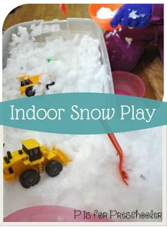 Your kids will love this indoor snow play activity! Fill a bin with snow, have them slip on some winter gloves, and enjoy hours of Hot Wheels car-playtime driving through the snow!