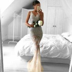 2017 Long Mermaid Evening Prom Dresses,  Lace Long Party Prom Dress, Custom Long Prom Dress, Cheap Party Prom Dress, Formal Prom Dress, 17023