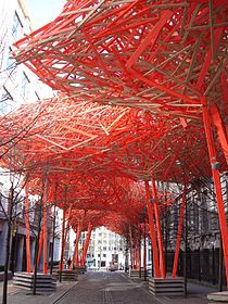 "Arne Quinze.  Wooden public art installation ""The Sequence"" at the Flemish Parliament in Brussels, Belgium, 2008"