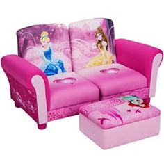 Disney - 3 Piece Upholstered Set, Princess Connecting Sofa Couches and Ottoman Set: Toddler. Disney Princess Room, Princess Bedrooms, Princess Toys, Toddler Princess Room, Princess Room Decor, Toddler Sofa, Kids Sofa, Toddler Furniture, Disney Furniture