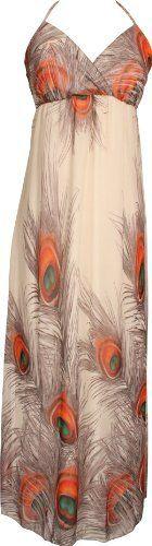 Chiffon Peacock Maxi Dress