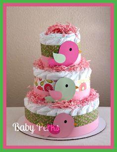 Bird Diaper Cake - For baby Girl baby Shower. $44.00, via Etsy.