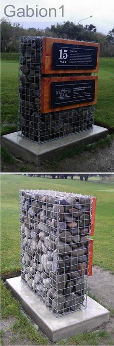 15th Tee golf gabion sign using 1200 x 975 x 375mm welded mesh gabion http://www.gabions.co.nz