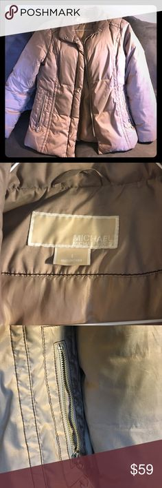 Michael Kors puffer coat Tan puffer coat by Michael Kors--slight shimmer to the material. Extremely warm and comfortable. Lightly used. Two zippered pockets and buttons and zippers down the front. MICHAEL Michael Kors Jackets & Coats Puffers