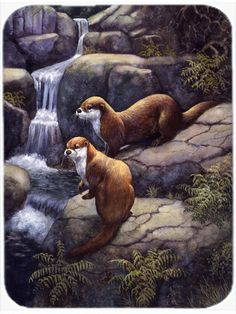 Otters by the Waterfall Glass Cutting Board