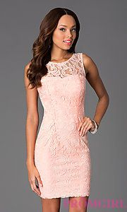 Buy Short Sleeveless Scoop Neck Lace Dress at PromGirl