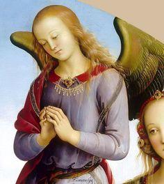 https://s-media-cache-ak0.pinimg.com/originals/7a/05/41/7a05414158c944e46b7585c65a8c424e.jpg   Перуджино, Пьетро (1446 -1524) Мадонна с Младенцем в окружении св. Розы и  св. Екатерины Александрийской и двух ангелов (detail) 1490-95, 148 см, Лувр