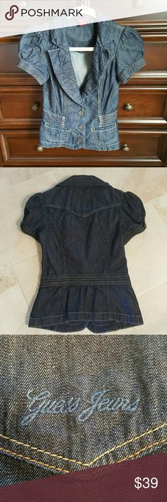 Guess denim jacket Very nice Guess denim jacket in dark blue wash. Embroidered 'Guess Jeans' monogram on the back. In near perfect condition,  worn only handful of times. Guess Jackets & Coats Jean Jackets