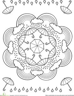 Kindergarten Mandalas Worksheets: Rainy Day Coloring Page