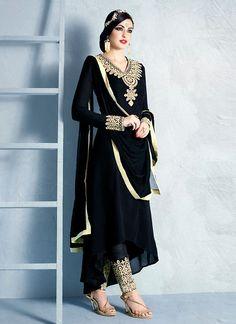 a4363ce505 Anarkali Style Black Color with Resham Work Wonderful Unstitched Salwar  Kameez