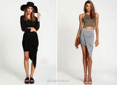 Slim Asymmetrical Wrap Jersey Skirt -  - Skirts, Look Love Lust - 8