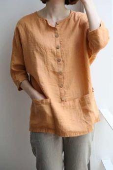 48 Ideas Sewing Blouse Pattern Tunics Linen Shirts For 2019 Kurta Designs, Blouse Designs, Sewing Blouses, Linen Blouse, Linen Shirts, Tunic Pattern, Dress Sewing Patterns, Linen Dresses, Look Chic
