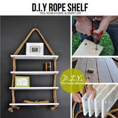 DIY rope bookshelf 634x634  DIY Bookshelves : 18 Creative  Ideas and Designs