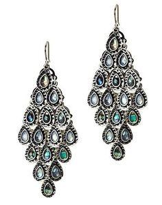 Lucky Brand Abalone Silver Tone Chandelier Earrings *Beautiful!*