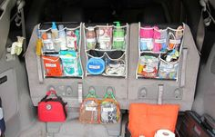 Plastic shower pockets hold everything a mom could possibly need on a road trip (or, heck, a supermarket run) with kids. See more at The Castro Family Happynings »  - GoodHousekeeping.com