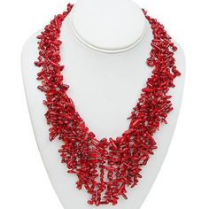 Mesmerizing-18-Inch-Semi-Precious-Red-Coral-Chips-Strand-Statement-Necklace-18