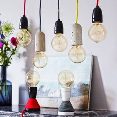 Playful, elementary and useful this pendant light allow you to realize creative light arrangement. Made just from lamp socket and a colorful cable, this lamp will bring an old school touch to your decor. Design Light, Lamp Design, Chandelier Ceiling Lights, Pendant Lighting, Industrial Lighting, Painted Staircases, Concrete Light, Lighting Sale, Lighting Ideas