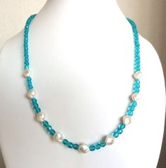 Turquoise Czech glass & white pearl necklace