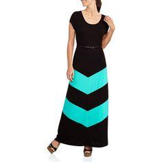 Walmart Fourteenth Place Women's Chevron Belted Maxi Dress