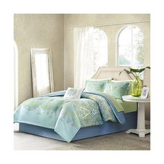 Piper 9 Piece Comforter Set - Aqua (6,790 INR) ❤ liked on Polyvore featuring home, bed & bath, bedding, comforters, bedspreads, blue, comforter set, aqua comforter set, aqua blue comforter and blue comforter