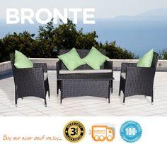 Bronte 4 Piece Outdoor Resin Wicker Patio Sofa Furniture Set Setting