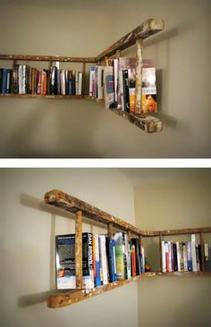 alte holzleiter wandregal selber machen make old wooden ladder wall shelf yourself Pin: 600 x 901 Old Wooden Ladders, Ladder Bookshelf, Bookshelf Ideas, Bookshelf Design, Shelving Ideas, Creative Bookshelves, Storage Ideas, Ladder Shelf Diy, Hanging Shelves