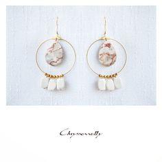 JEWELRY | Chryssomally || Art & Fashion Designer - Boho chic gold earrings with orange and white gemstones