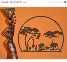 African Panorama exotic tribal wall decal sticker by StyleandApply
