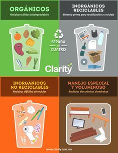 #ClarityMx La basura es un contaminante que requiere de tratamiento especial, por lo que hay que aprender a separarla y clasificar cada uno de nuestros desechos sólidos y así cuidar el medio ambiente.