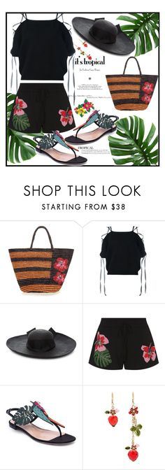 """Tropical Punch with a Hat On Top"" by onesweetthing ❤ liked on Polyvore featuring Sensi Studio, Valentino, Betsey Johnson, tropical, valentino, BetseyJohnson, strawhats and sensi"