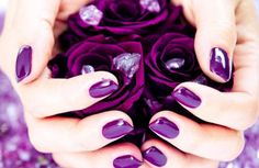 (violet, purple nails, manicure, roses, rhinestones)