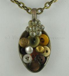 Vintage Handcrafted Spoon Necklace Pendant - Vintage Dimi Buttons & Rhinestones