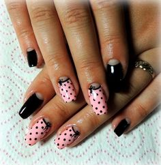 Beautiful nails 2016, Beautiful summer nails, Black and pink nails, Black dress…
