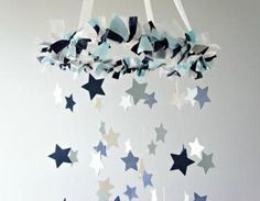 Star Mobile- Navy, Baby Blue, & White**PLEASE NOTE: All mobiles are MADE TO ORDER. Please see shop homepage announcement for current make time**This elegant star mobile will make the perfect addition ..