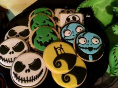 Decorated cookies at a Tim Burton Halloween party!  See more party planning ideas at CatchMyParty.com!