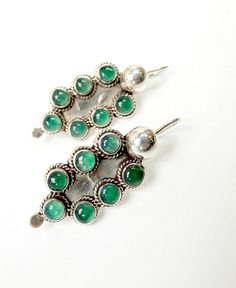 SALE Natural Emerald and Sterling Silver  Vintage by Topcatvintage