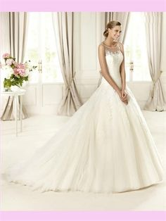 White Ball Lace Tulle 2013 Wedding Dress AWD420198