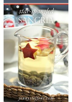 Star-Spangled Sangria  Red, White  Blueberry Ice Cream Cake, Star-Spangled Sangria, Festive Flag Table Setting  More!    http://jennysteffens.blogspot.com/2012/06/star-spangled-sangria-4th-of-july.html