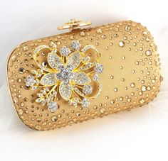 swarovski purses clutches | Bridal Clutch - Party Purse Clutch in Gold with Swarovski Crystals and ...