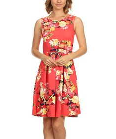This Pink & Yellow Floral Sleeveless A-Line Dress by Pretty Young Thing is perfect! #zulilyfinds
