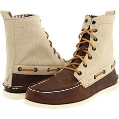 Sperry Top-Sider A/O 7 Eye Boot in Dark Brown / Khaki Canvas