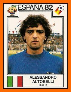 Alessandro Altobelli of Italy. 1982 World Cup Finals card. Football Stickers, Football Cards, Football Players, 1982 World Cup, Fifa World Cup, Germany Team, World Cup Final, Team Photos, Retro