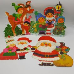 Hallmark Christmas Die Cut Out decoration Lot 4 Elf Reindeer Santa Mrs Claus USA #Hallmark