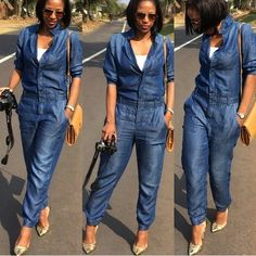 ♡✿♔Life, likes and style of Creole-Belle♔✿✝♡ Blue Jean Jumpsuit, Jeans Jumpsuit, Jumpsuit Outfit, Casual Summer Outfits, Chic Outfits, Jean Outfits, Chambray, Denim Fashion, Girl Fashion