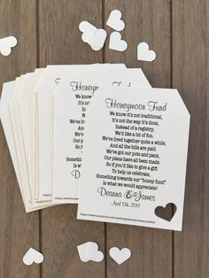 Honeymoon Fund Invitation Insert for Bridal Shower or Wedding- Honeyfund, Honeymoon Fund, Honeymoon Wish, Honeymoon ideas- CAN BE CUSTOMIZED This 3 in x 4 in tag is the perfect size to include with… Wedding Tips, Our Wedding, Wedding Planning, Wedding White, Destination Wedding, Dream Wedding, Wedding Paper, Wedding Dreams, Wedding Themes