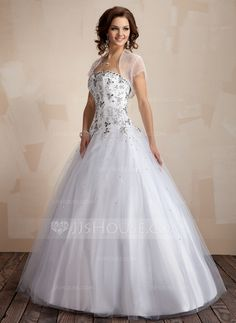 Quinceanera Dresses - $203.99 - Ball-Gown Sweetheart Floor-Length Tulle Quinceanera Dress With Embroidered (021004553) http://jjshouse.com/Ball-Gown-Sweetheart-Floor-Length-Tulle-Quinceanera-Dress-With-Embroidered-021004553-g4553