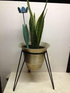 Anodised aluminium planter in hairpin stand