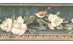 Floral Borders : Green Gold Floral Birds Wallpaper Border