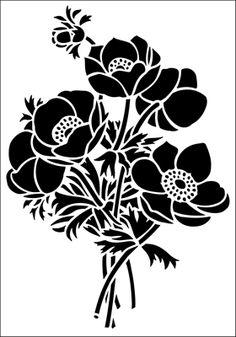 Anemone stencil from The Stencil Library GENERAL range. Buy stencils online. Stencil code 144.