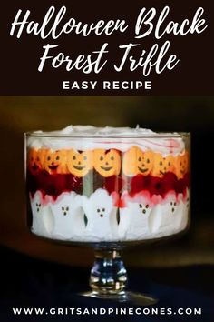 Easy Halloween Black Forest Trifle is a spooktacularly delicious Halloween dessert recipe full of the most adorable ghosts and goblins! This easy Halloween dessert only takes minutes to assemble and is sure to please even your pickiest big and little kids! Family friendly and perfect for the spooky holidays, try this EASY recipe this year! Halloween Desserts, Halloween Appetizers, Halloween Peeps, Halloween Food For Party, Halloween Cakes, Halloween Treats, Halloween Foods, Party Food For Adults, Marshmallows